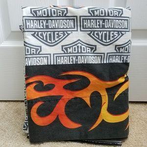 Harley Davidson Full Sheet Set Gray Orange Flame